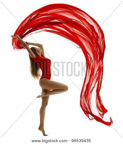 Dancing Woman, Flying Red Cloth On White, Gymnast Girl Dance Wave Fabric