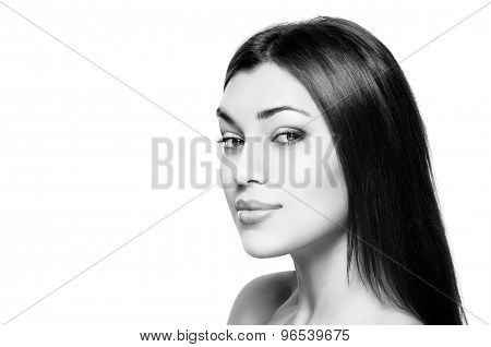 Beauty Woman Portrait Of Teen Girl Beautiful Cheerful Enjoying With Long Brown Hair And Clean Skin I