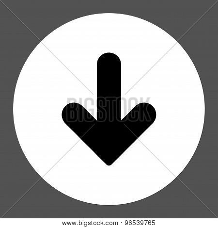 Arrow Down flat black and white colors round button