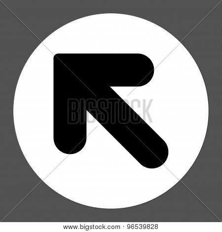 Arrow Up Left flat black and white colors round button