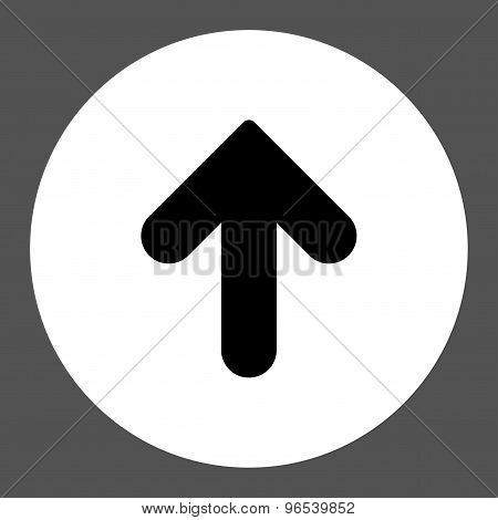 Arrow Up flat black and white colors round button