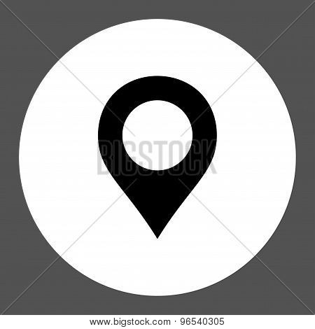Map Marker flat black and white colors round button