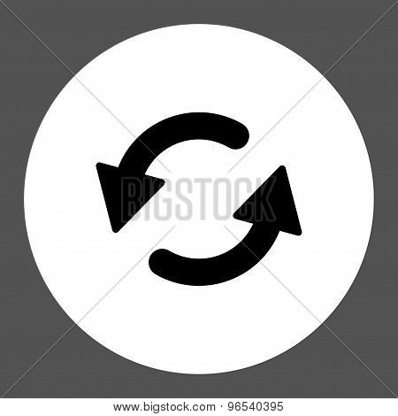 Refresh Ccw flat black and white colors round button