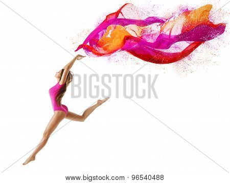 Woman Jump, Girl Dancer With Fly Pink Cloth, Slim Gymnast Posing On White