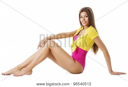 Sport Fashion Woman, Gymnast Clothes, Young Sporty Girl, Model Sit On White