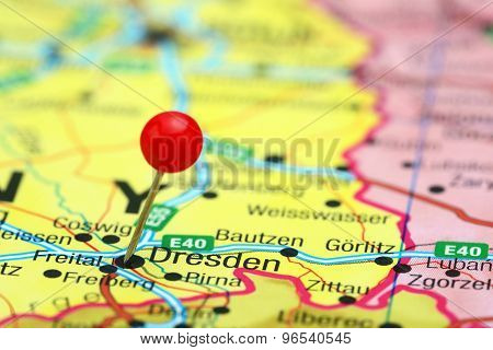 Dresden pinned on a map of europe