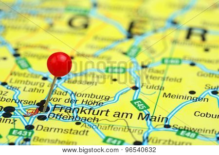 Frankfurt am Main pinned on a map of europe