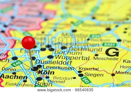 Cologne pinned on a map of europe