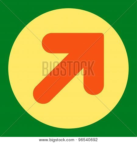 Arrow Up Right flat orange and yellow colors round button