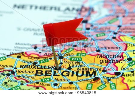 Brussels pinned on a map of europe