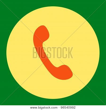 Phone flat orange and yellow colors round button