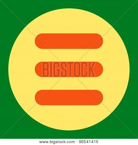Stack flat orange and yellow colors round button