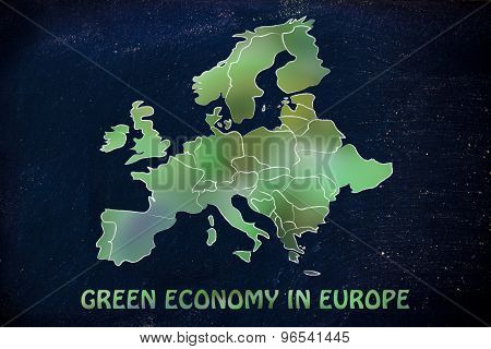 Map Of Europe With Green Leaves Blur, Concept Of Green Economy In Europe