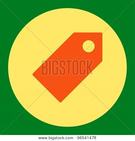 Tag flat orange and yellow colors round button
