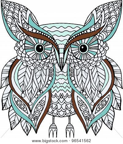 Hand Drawn Vector Colorful Owl Illustration Decorated With Doodle Ornaments