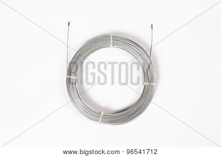 Spiral Roll Steel Wire Rope Cable On White