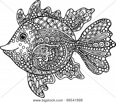 Hand drawn goldfish illustration. Decorative ornamental fish drawing