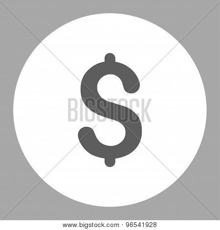 Dollar flat dark gray and white colors round button