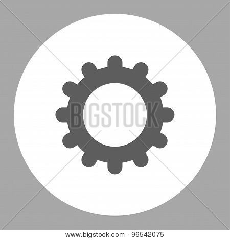 Gear flat dark gray and white colors round button
