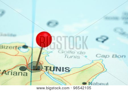 Tunis pinned on a map of europe