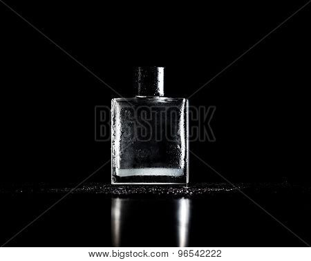 Stylish Bottle Of Perfume On Black