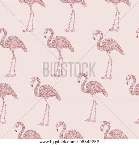 Pink seamless flamingo pattern with hand drawn illustrations