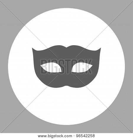 Privacy Mask flat dark gray and white colors round button