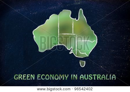 Map Of Australia With Green Leaves Blur, Concept Of Ecology And Green Economy