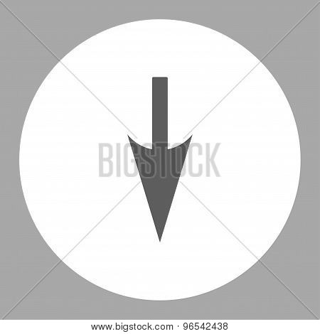 Sharp Down Arrow flat dark gray and white colors round button