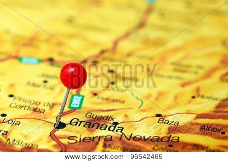 Granada pinned on a map of europe