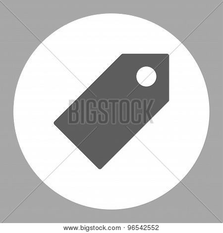 Tag flat dark gray and white colors round button