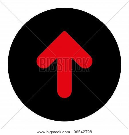Arrow Up flat intensive red and black colors round button
