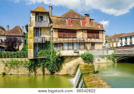 Old traditional building in Salies de Bearn, France.