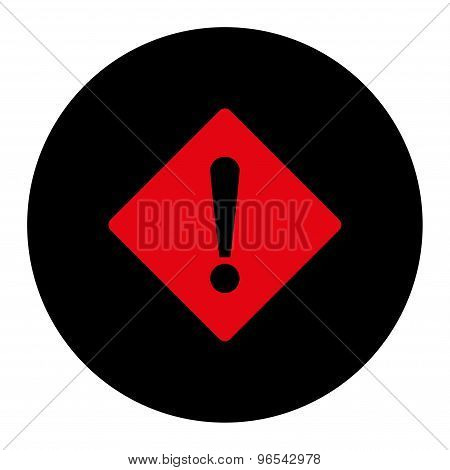Error flat intensive red and black colors round button