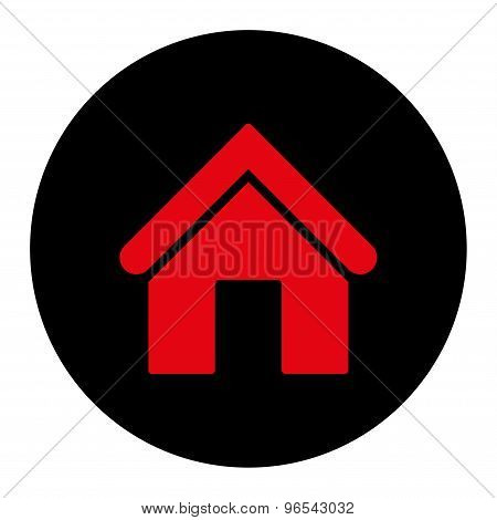 Home flat intensive red and black colors round button