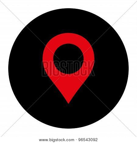 Map Marker flat intensive red and black colors round button