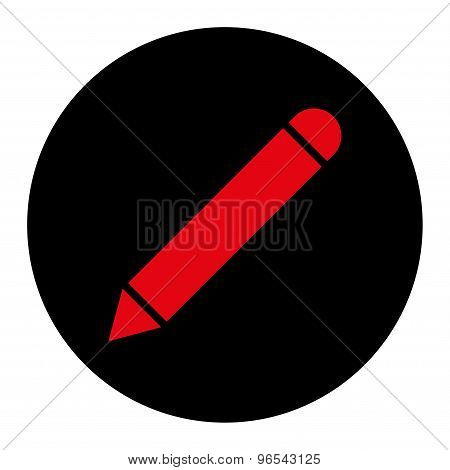 Pencil flat intensive red and black colors round button