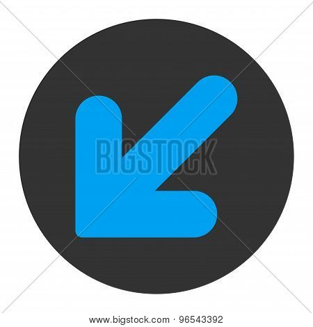 Arrow Down Left flat blue and gray colors round button