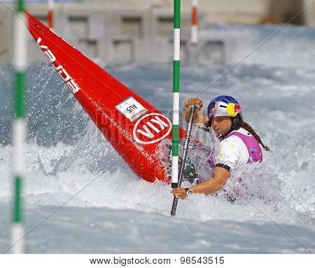 LONDON, ENGLAND - JUNE 06 2014 Jessica Fox of Australia competes at the ICF Canoe Slalom held at the Lea Valley White Water centre Waltham Abbey.