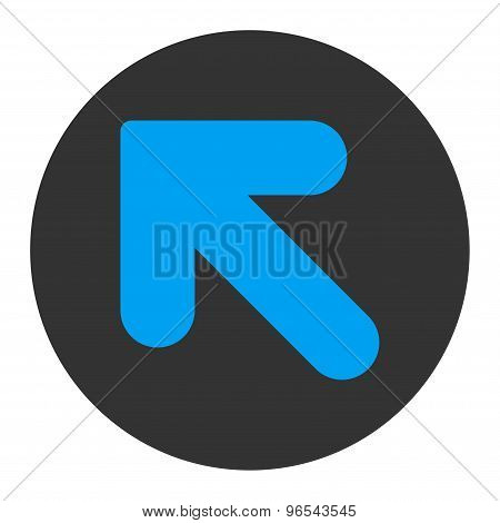 Arrow Up Left flat blue and gray colors round button