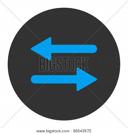 Arrows Exchange Horizontal flat blue and gray colors round button