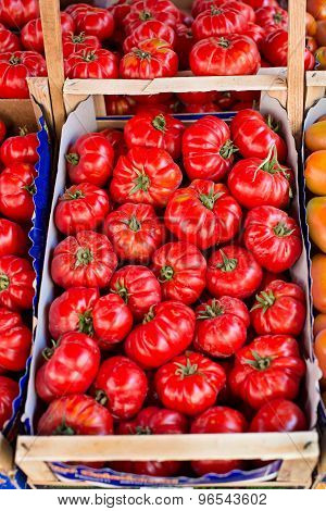 Fresh Tomatoes In A Market.