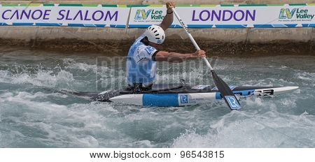 LONDON, ENGLAND - JUNE 06 2014 David Florence of Great Britain competes at the ICF Canoe Slalom held at the Lea Valley White Water centre Waltham Abbey.