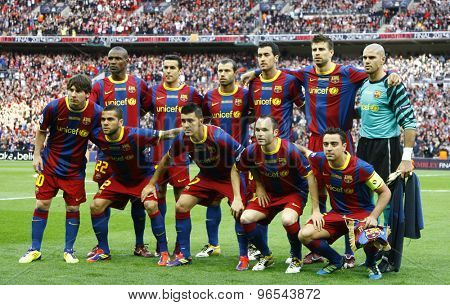 LONDON, ENGLAND. May 28 2011: Barcelona team before the 2011UEFA Champions League final between Manchester United and FC Barcelona, at Wembley Stadium