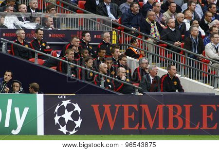 LONDON, ENGLAND. May 28 2011: The Manchester team bench during the 2011UEFA Champions League final between Manchester United and FC Barcelona, at Wembley Stadium