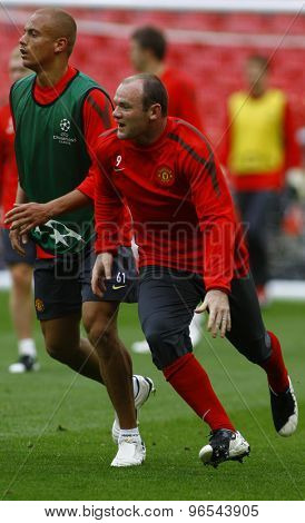 LONDON, ENGLAND. May 27 2011:  Wes Brown and Wayne Rooney during the official training session for the 2011UEFA Champions League final between Manchester United and FC Barcelona, at Wembley Stadium