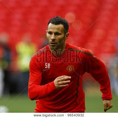 LONDON, ENGLAND. May 27 2011: Manchester's midfielder Ryan Giggs during the official training session for the 2011UEFA Champions League final between Manchester United and FC Barcelona
