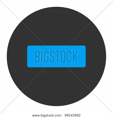 Minus flat blue and gray colors round button