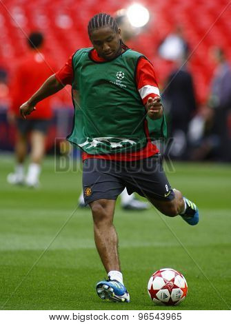 LONDON, ENGLAND. May 27 2011: Manchester's midfielder Anderson during the official training session for the 2011UEFA Champions League final between Manchester United and FC Barcelona