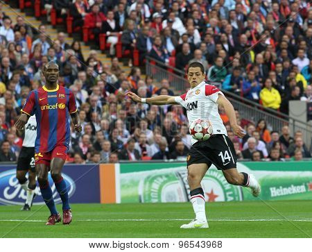 LONDON, ENGLAND. May 28 2011: Manchester's forward Javier Herna�¡ndez  during the 2011UEFA Champions League final between Manchester United and FC Barcelona, at Wembley Stadium